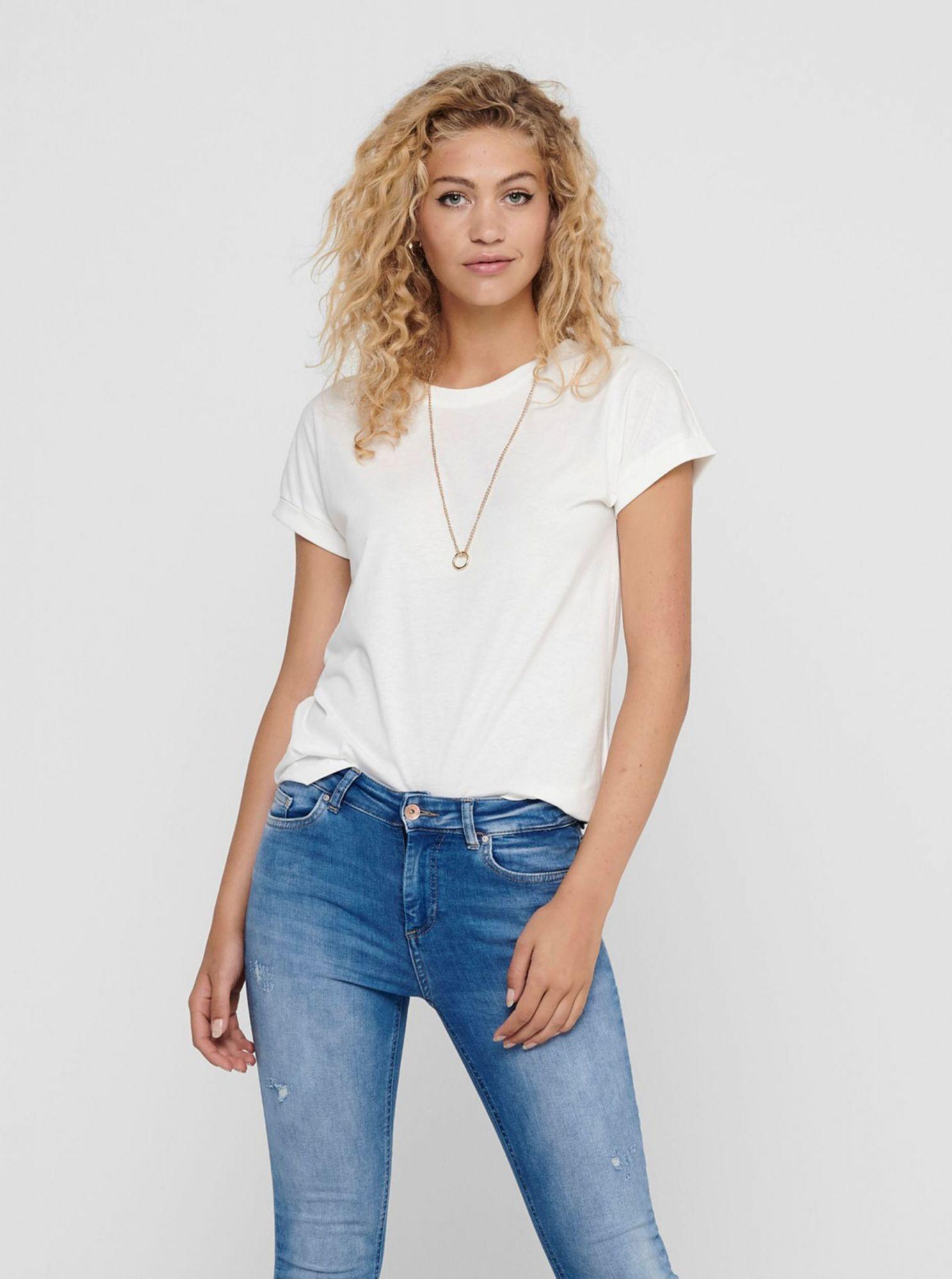 Bílé basic tričko Jacqueline de Yong Louisa