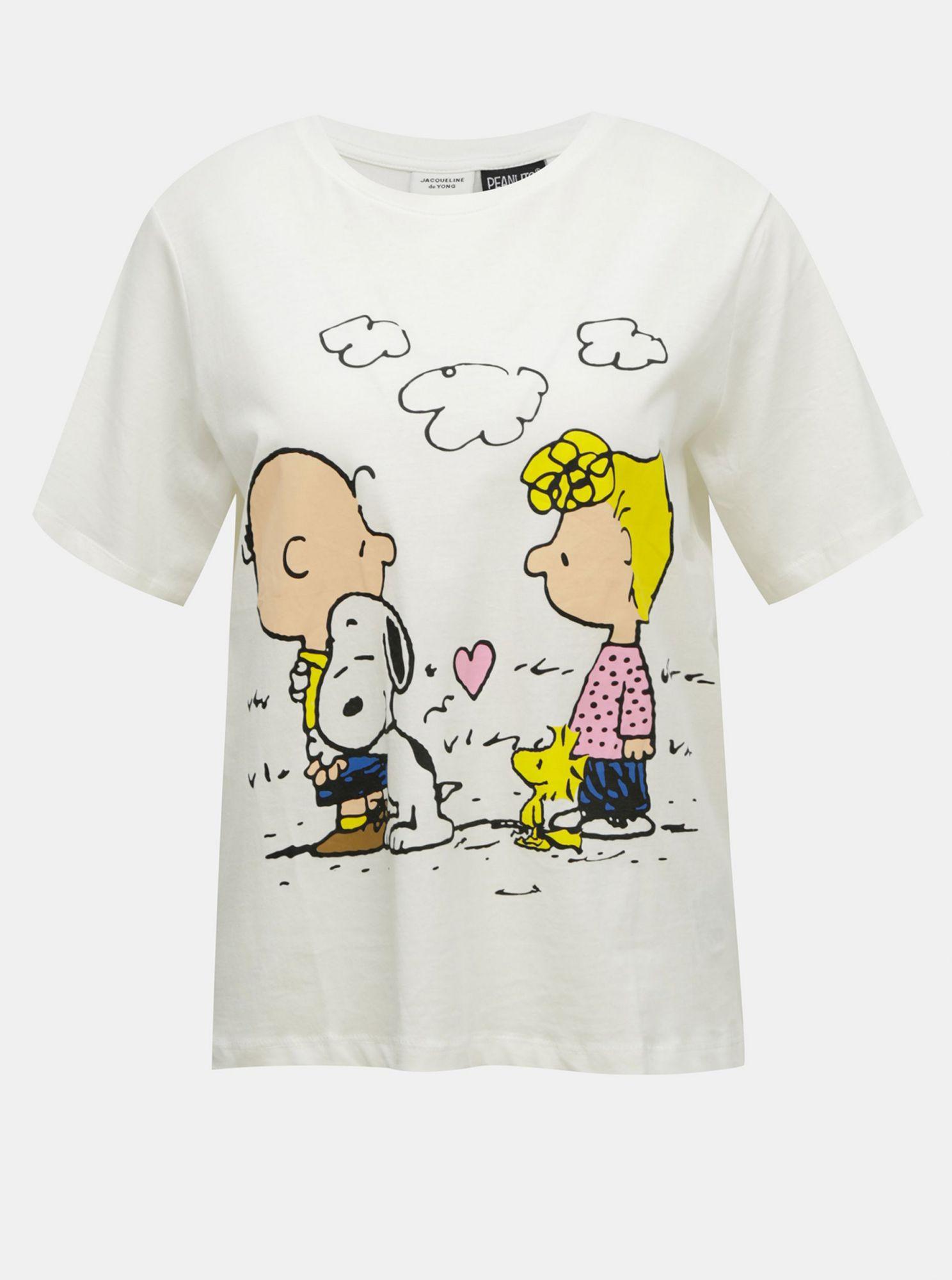 Bílé volné tričko s potiskem Jacqueline de Yong Peanut