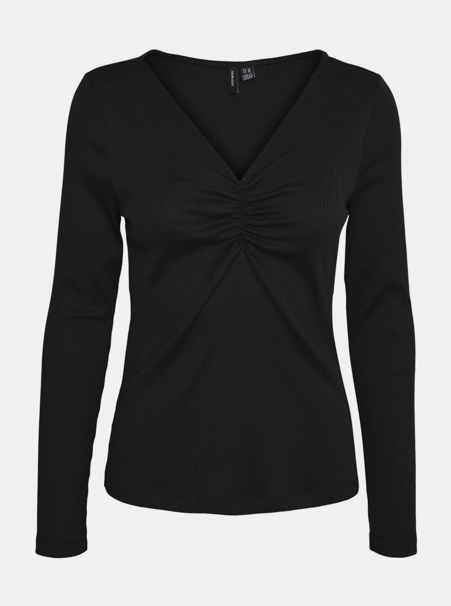 Černé žebrované tričko VERO MODA Polly