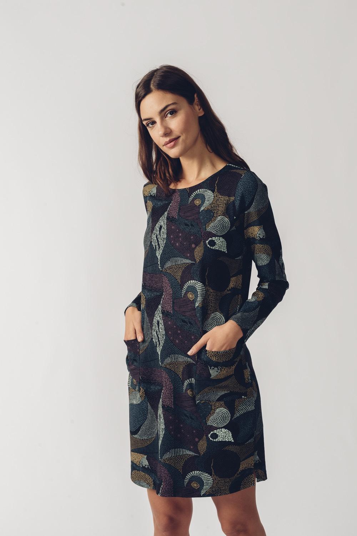 SKFK petrolejové šaty se vzorem Ilbe