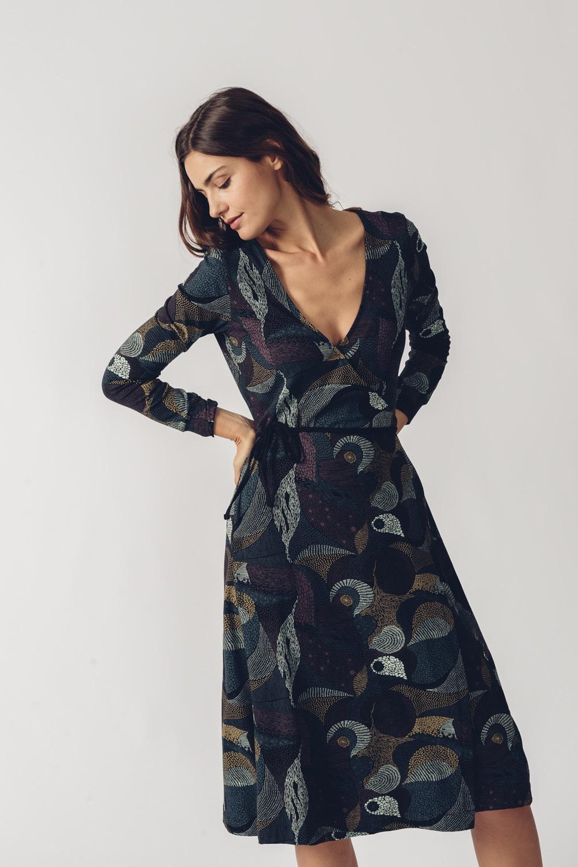 SKFK petrolejové vzorované šaty Argia