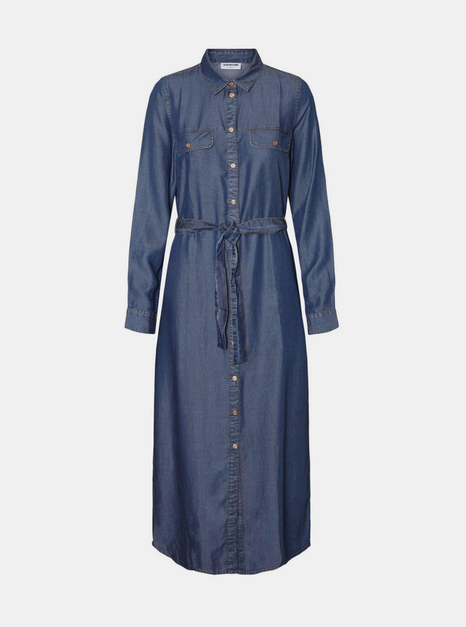 Modré džínové košilové maxišaty Noisy May Cersei