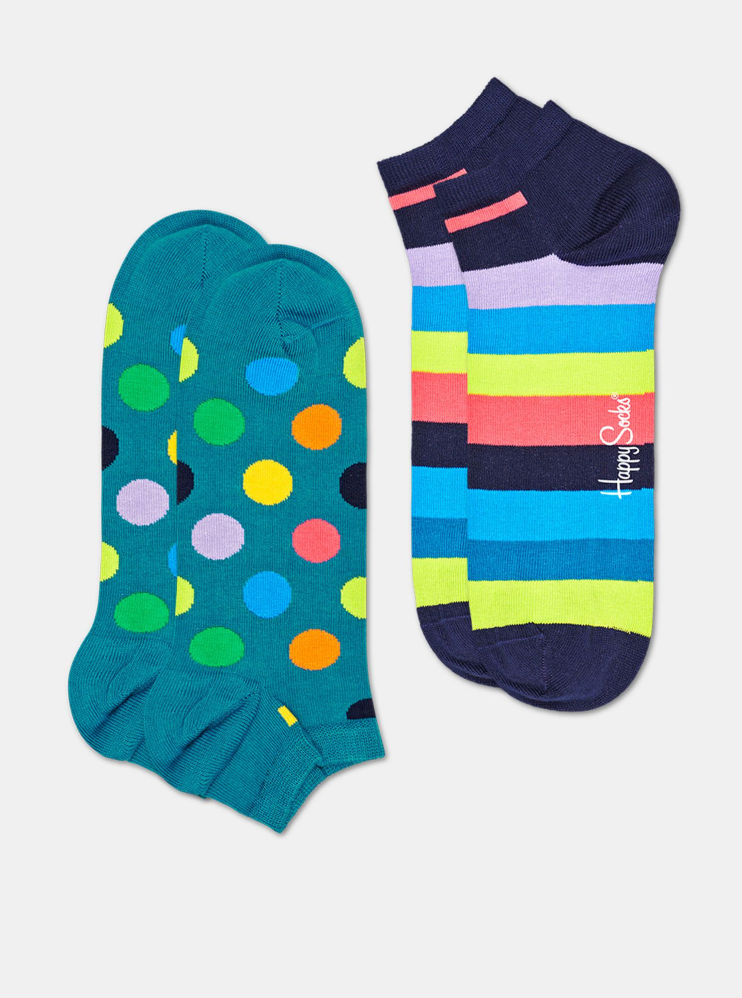 Sada dvou párů modrých kontníkových ponožek Happy Socks Big Dot