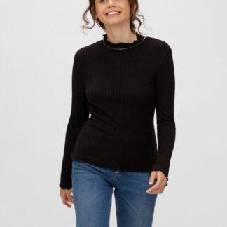 Černé žebrované tričko Noisy May Berry