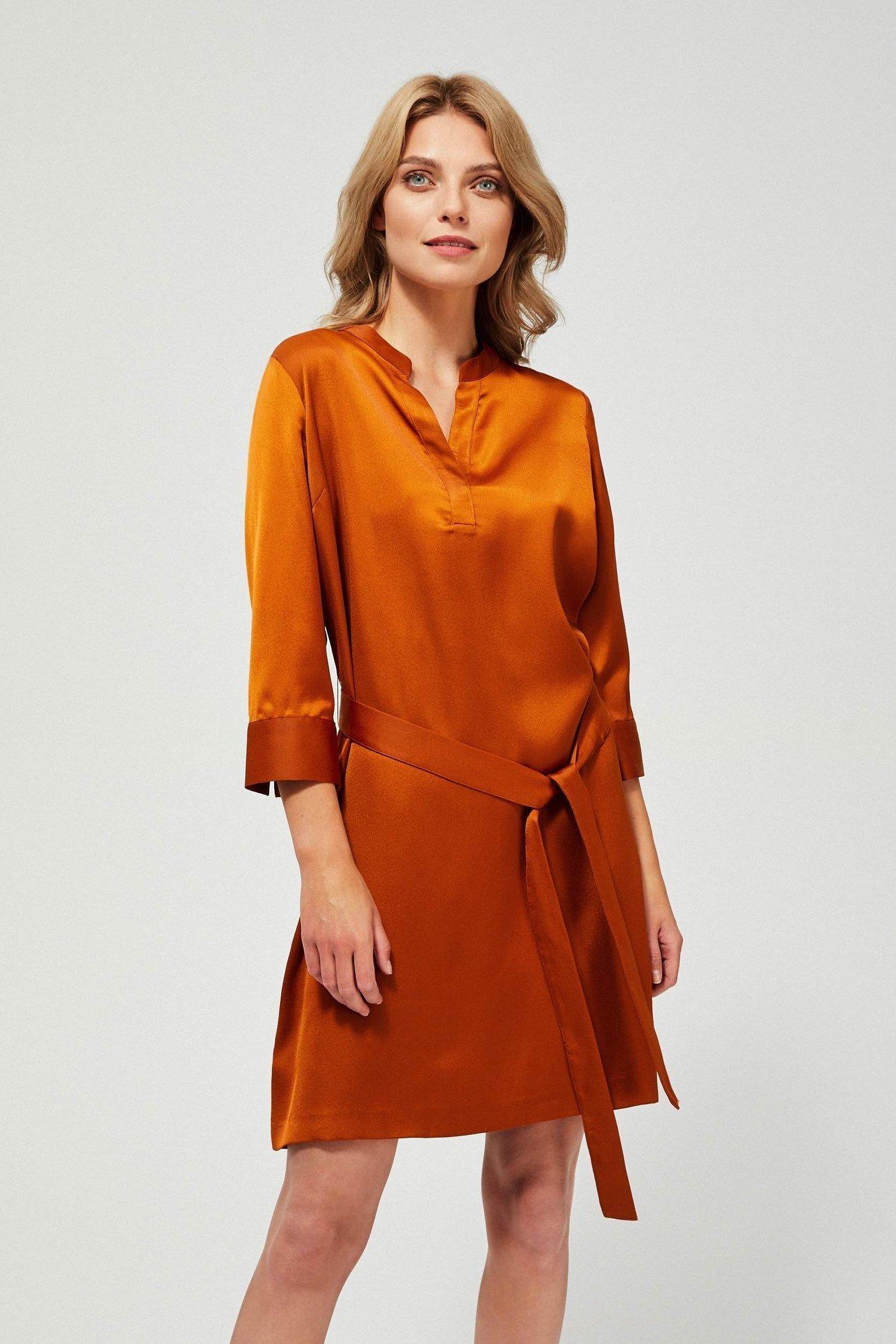 Moodo bronzové šaty s páskem