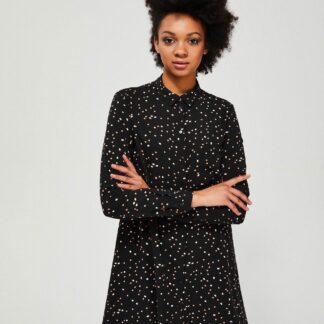 Moodo černé košilové šaty s puntíky