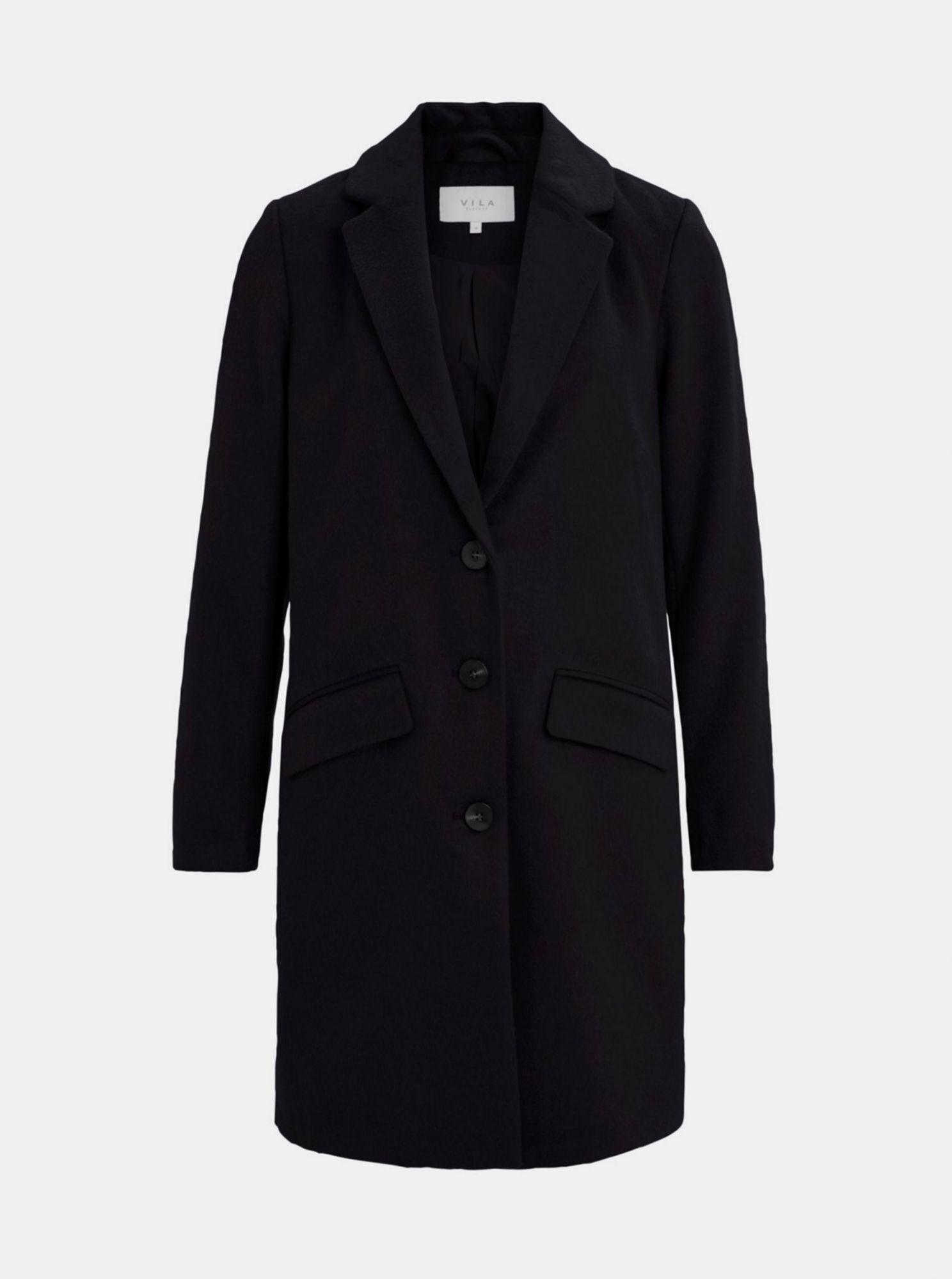 Černý kabát s příměsí vlny VILA Leovita