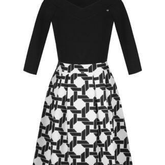 Rinascimento černo-bílé vzorované šaty s mašlí