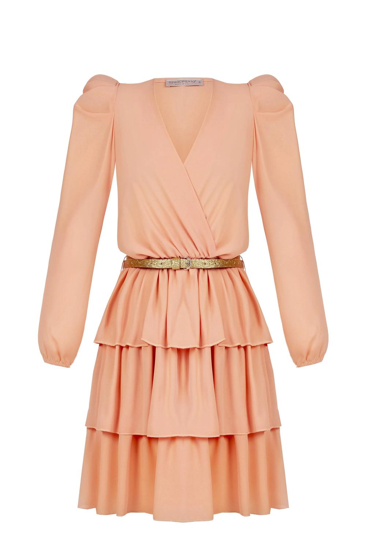 Rinascimento meruňkové šaty se zlatým páskem