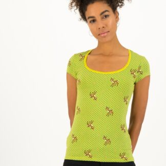 Blutsgeschwister žluto-zelené tričko Deer Love