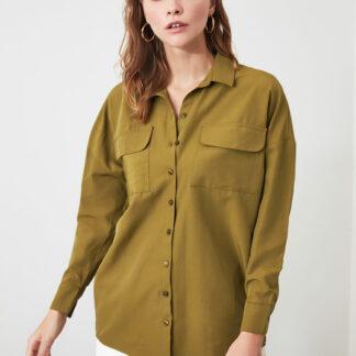 Khaki volná košile Trendyol