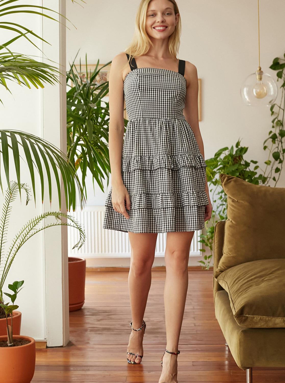 Šedé kostkované šaty Trendyol