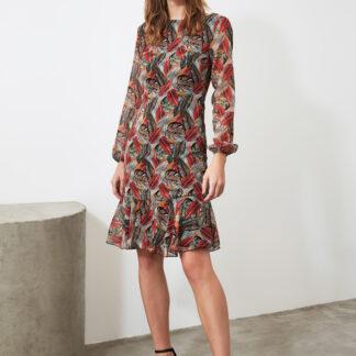 Vínovo-hnědé vzorované šaty Trendyol