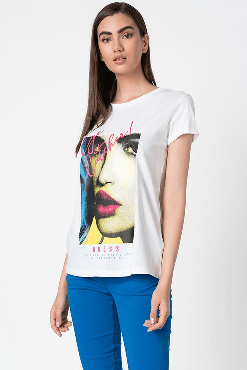 Guess bílé tričko Logo Frontale Glitter s potiskem