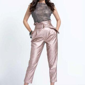 Guess metalické pudrové kalhoty s vysokým pasem