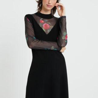 Desigual černé šaty Vest Tokio s transparentními rukávy