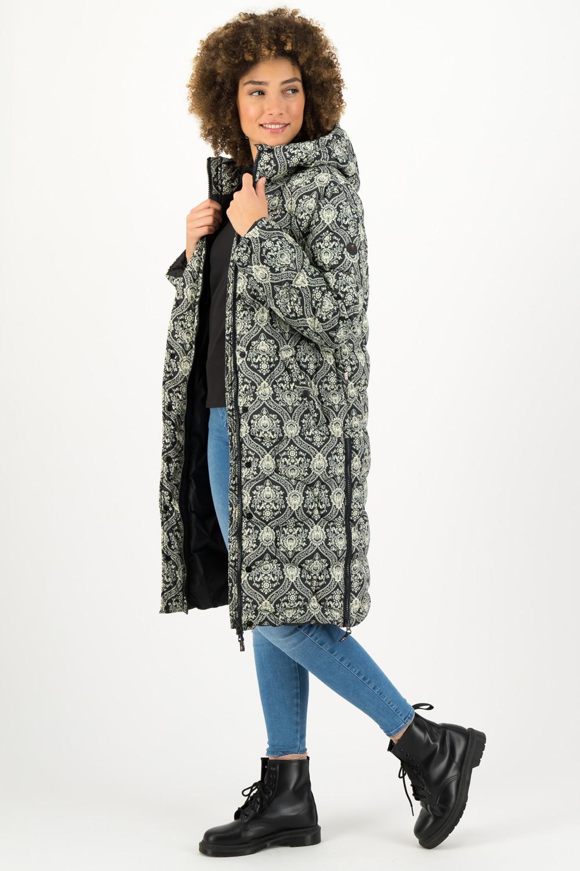 Blutsgeschwister černo-bílý zimní kabát Damask Rose