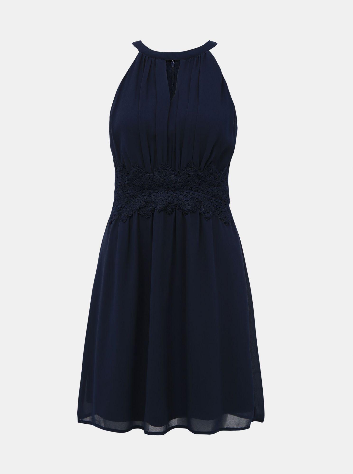 Tmavě modré šaty s krajkou VILA Milina