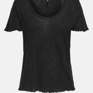 Černé lněné tričko ONLY Mirinda