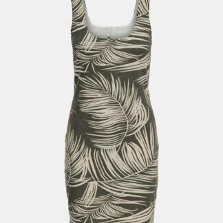 Khaki vzorované šaty ONLY Loui