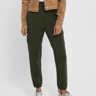 Tmavě zelené kalhoty s kapsami ONLY