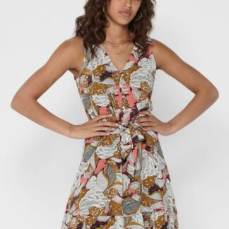 Hnědé květované šaty ONLY Gusta