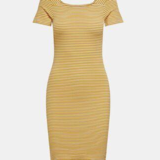 Žluté pruhované basic šaty ONLY Fiona