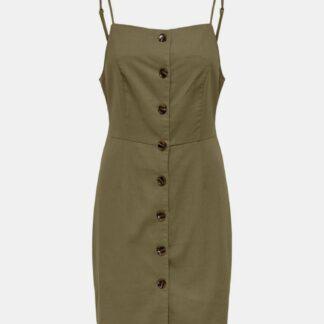 Khaki šaty s příměsí lnu ONLY Ember