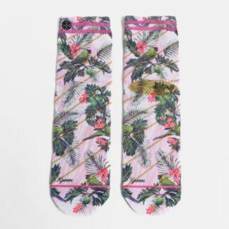 Růžové dámské květované ponožky XPOOOS