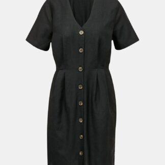 Černé šaty s příměsí lnu ONLY Viva