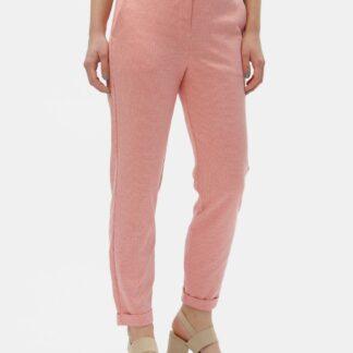 Lososové vzorované kalhoty s vysokým pasem VERO MODA Toni