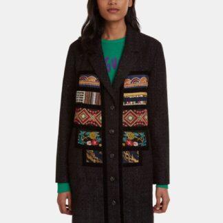 Černý vzorovaný lehký kabát Desigual Joy