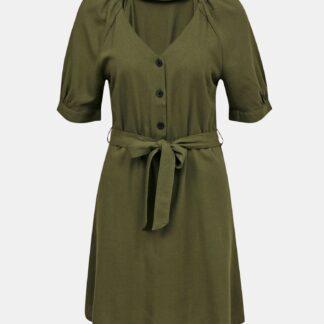 Zelené lněné šaty VERO MODA Day