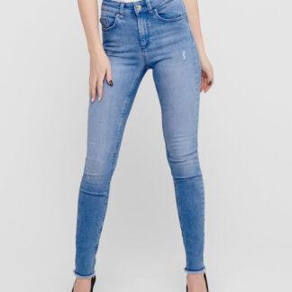 Modré skinny fit džíny s roztřepenými lemy ONLY Blush