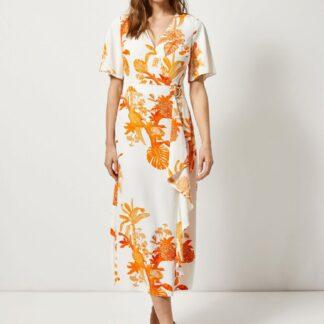 Oranžovo-bílé vzorované maxišaty s volánem Dorothy Perkins