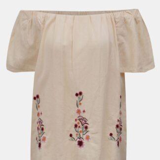 Meruňková halenka s květovanou výšivkou a odhalenými rameny Dorothy Perkins