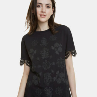 Černé vzorované tričko s krajkou Desigual