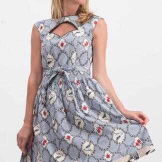 Modré vzorované šaty s průstřihem Blutsgeschwister Schwarzwaldmädel