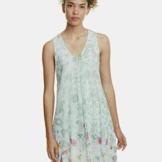 Světle zelené květované šaty Desigual Carnagy
