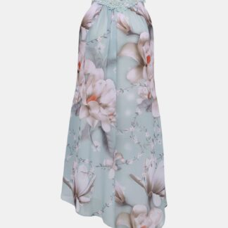 Světle modré květované asymetrické šaty Dorothy Perkins