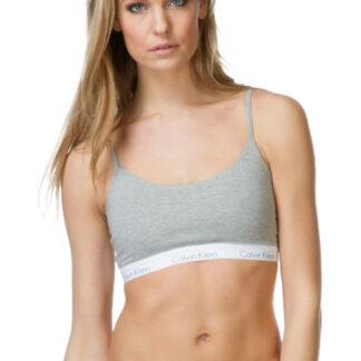 Calvin Klein šedá podprsenka s bílou gumou Bralette Basic