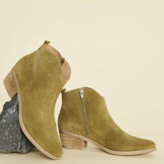 OJJU khaki semišové kotníkové boty