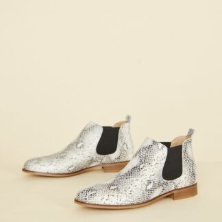 OJJU bílé chelsea kožené boty