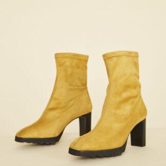 OJJU hořčicové semišové kotníkové boty
