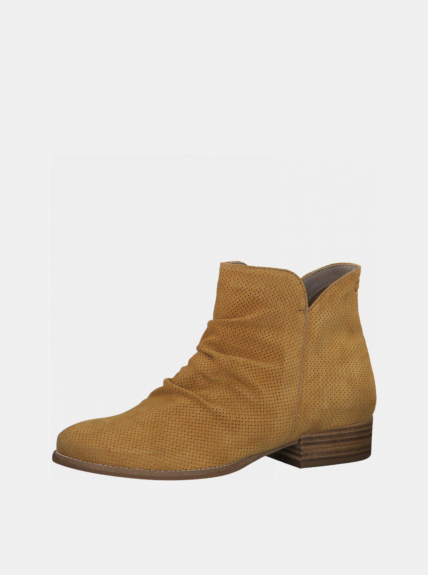 Tamaris hořčicové kotníkové semišové boty
