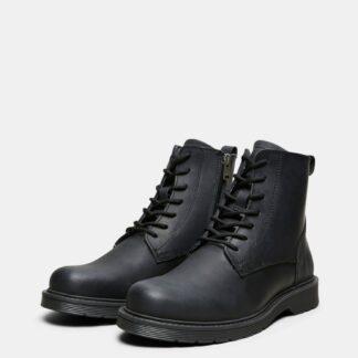Selected Homme černé pánské kožené kotníkové boty
