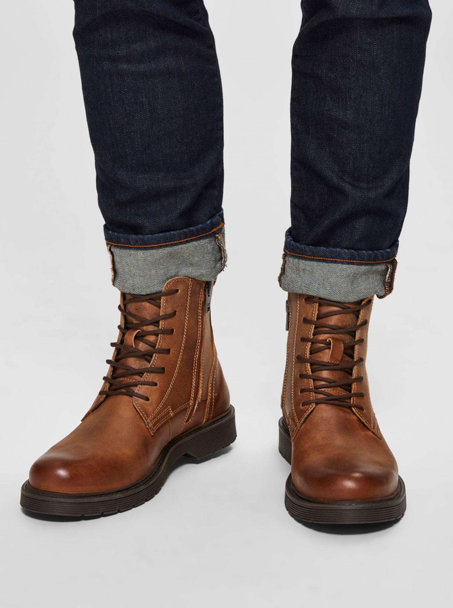 Selected Homme hnědé kožené boty kotníkové
