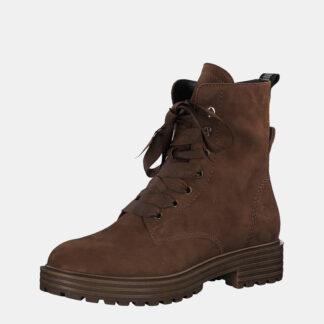 Tamaris hnědé kotníkové kožené boty