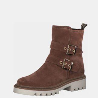 Hnědé kožené kotníkové boty Tamaris