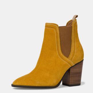 Tamaris hořčicové semišové kotníkové boty